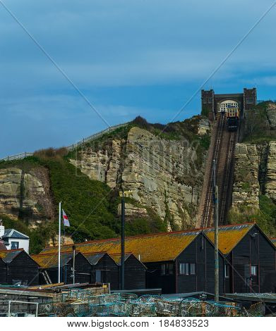Cliff Railway, Funicular Cable Lift Railway, In The Seaside Village, Great Rock Blocks, High Cliff