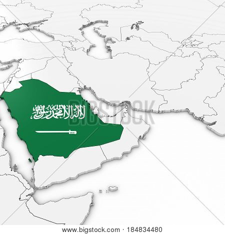 3D Map Of Saudi Arabia With Saudi Arabian Flag On White Background 3D Illustration