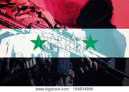 Soldier With Machine Gun With National Flag Of Syria