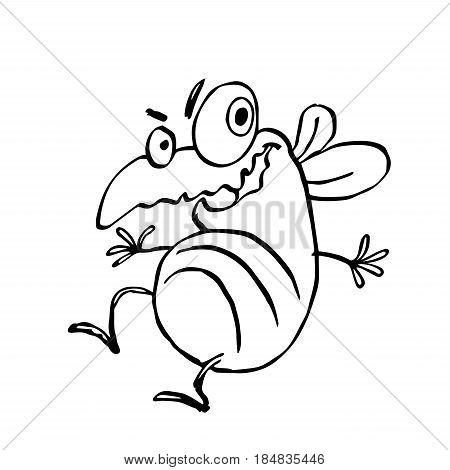 funny dancing cute fly. vector illustration. cartoon character.