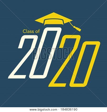 Class of 2020 Congratulations Graduate Typography with Cap and Tassle