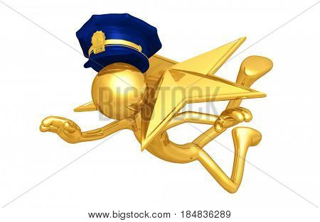Police Officer Hit With A Star The Original 3D Character Illustration