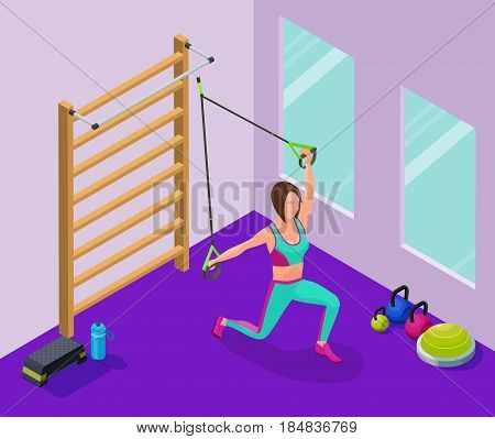 Isometric infographic illustration with girl doing suspension workout with straps, belts and other sports equipment