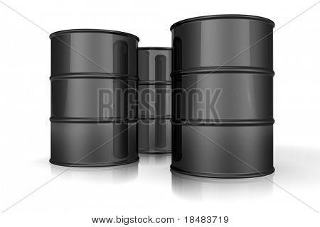 Illustration of three 3d black barrels of oil
