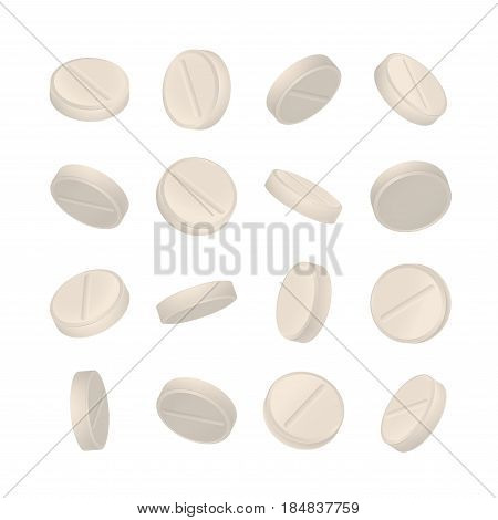 3d drugs pills in different positions on white background. Vitamin and painkiller vector illustration