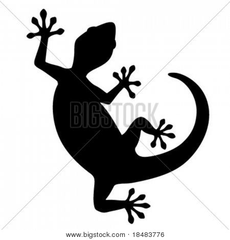 Silhouetted curved gecko