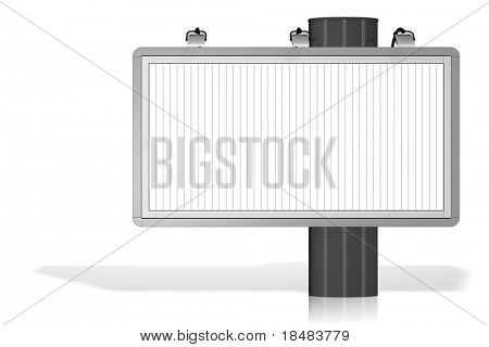 Blank white billboard on a white background