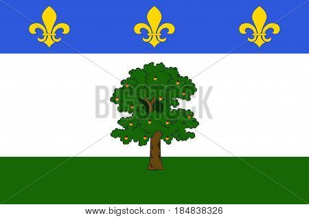 Flag of Privas is a commune of France capital of the Ardeche department. It is the smallest administrative centre of any department in France. Vector illustration