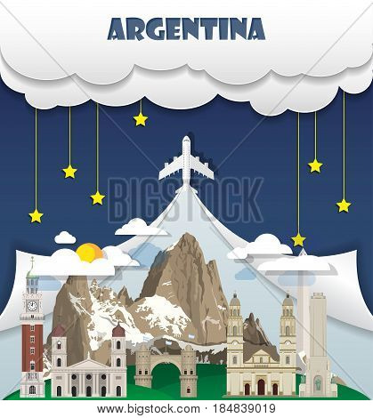 Argentina Travel Background Landmark Global Travel And Journey Infographic Vector Design Template. I