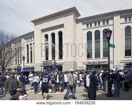 BRONX NEW YORK USA - APRIL 10: Yankee Stadium on opening day. Taken April 10 2017 in New York.