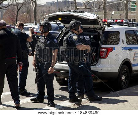 BRONX NEW YORK USA - APRIL 10: Several NYPD counter-terrorism bureau officers during opening game at Yankee Stadium. Taken April 10 2017 in New York.