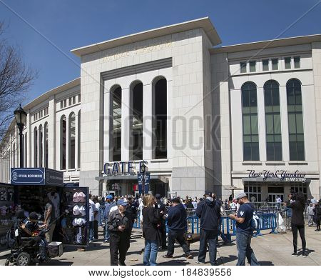 BRONX NEW YORK USA - APRIL 10: Outside Yankee Stadium in front of Gate 6. Taken April 10 2017 in New York.