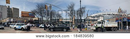 BRONX NEW YORK USA - APRIL 10: A counter terrorism barrier is set up at an intersection during the Yankees opening game. Taken April 10 2017 in New York.