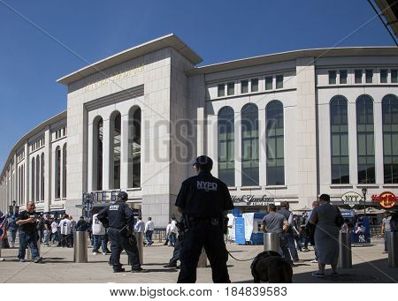 BRONX NEW YORK USA - APRIL 10: NYPD and fans at Yankee Stadium for opeing game. Taken April 10 2017 in New York.