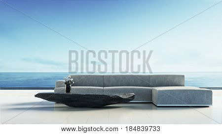 Beach living room - Beach lounge / 3D render interior