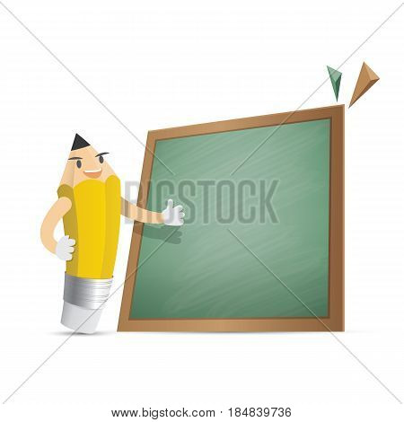 Pencil Character Cartoon Design And Text Box Green Board Frame For Message Illustration Vector. Educ