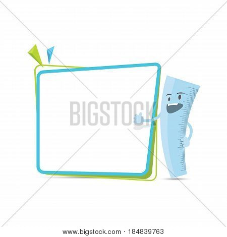 Ruler Character Cartoon Design And Text Box Frame For Message Illustration Vector. Education Concept