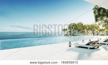 Beach lounge - sea view / 3D render interior