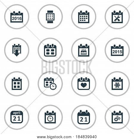 Vector Illustration Set Of Simple Plan Icons. Elements Planner, Remembrance, History And Other Synonyms Date, Repair And Time. poster