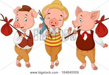 Vector illustration of Cartoon three little pigs