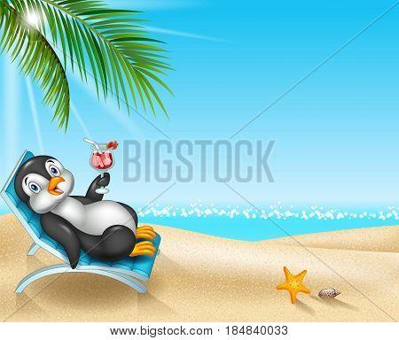 Vector illustration of Cartoon penguin relaxing on beach chair