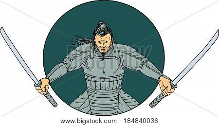 Drawing sketch style illustration of a Samurai warrior wielding two swords viewed from front set inside oval on isolated background.