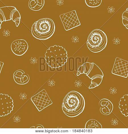 Bakery produkts seamless pattern on brown background