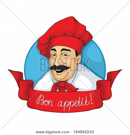 Smiling chef face with inscription Bon Appetit . Logotype, lable. Vector illustration.