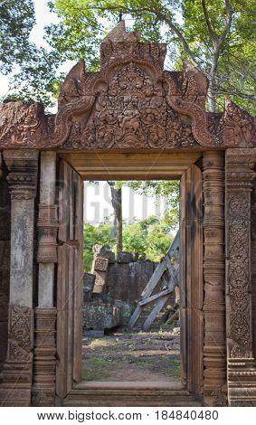 Doorway in Banteay Srei Temple in Cambodia