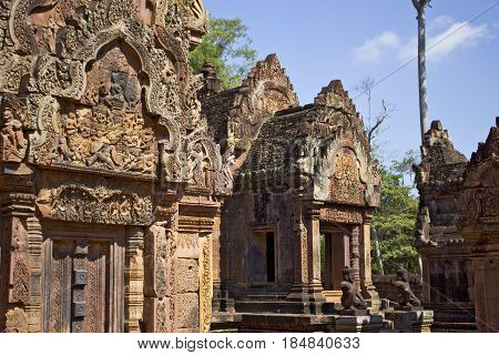 Towers of Banteay Srei Temple in Cambodia.
