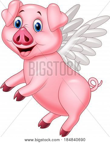 Vector illustration of Happy pig flying on white background