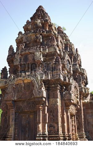 A tower in Banteay Srei Temple, Cambodia.