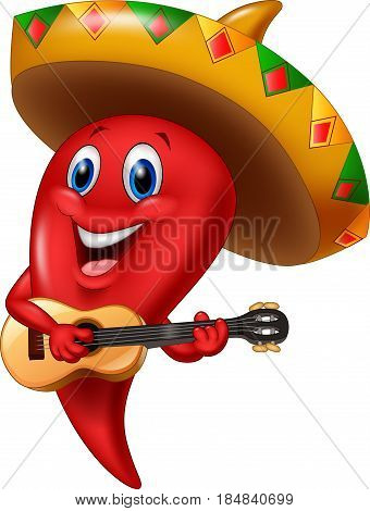 Vector illustration of Chili pepper mariachi wearing sombrero playing a guitar