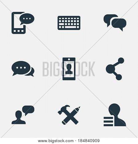 Vector Illustration Set Of Simple Newspaper Icons. Elements E-Letter, Gossip, Profile And Other Synonyms Share, Considering And Profit.