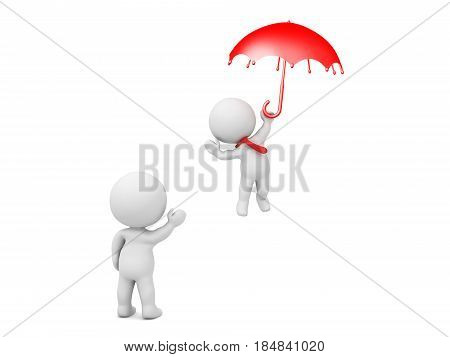3D Character waving at another one who is flying away holding an umbrella. Image can be used in any departure scenario.