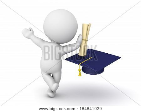 3D Character leaning on diploma with graduation hat. Image can convey graduation of any discipline.
