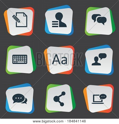 Vector Illustration Set Of Simple User Icons. Elements Man Considering, Keypad, Document And Other Synonyms Profit, Keyboard And Typography.