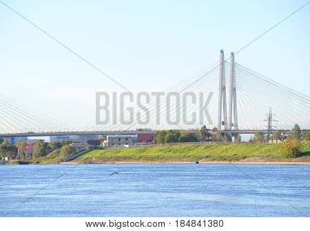 The Great Obukhov cable-stayed bridge and Neva River in St.Petersburg Russia.