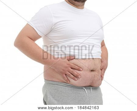Fat man on white background, closeup. Weight loss concept