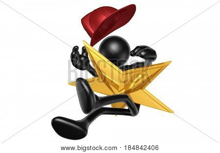 Fireman Hit With A Star The Original 3D Character Illustration