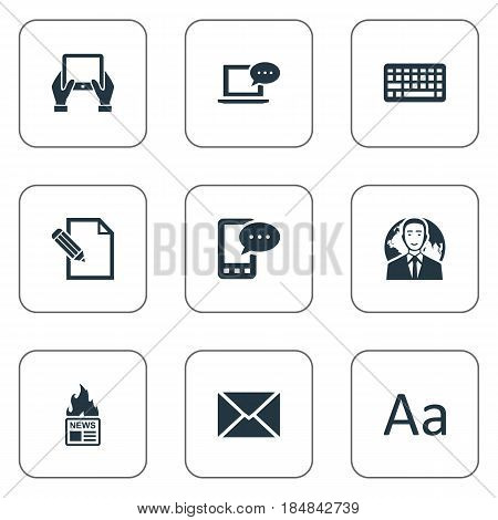 Vector Illustration Set Of Simple Blogging Icons. Elements Keypad, Post, E-Letter And Other Synonyms Cedilla, Keypad And Laptop.