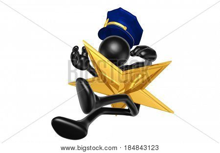 Police Officer Hit By A Star The Original 3D Character Illustration