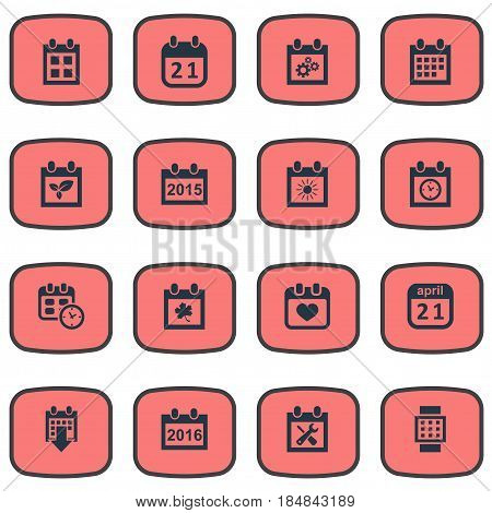 Vector Illustration Set Of Simple Date Icons. Elements Reminder, Summer Calendar, Agenda And Other Synonyms Agenda, Plant And Planner.