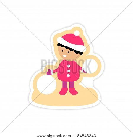 paper sticker on white background boy playing snowballs