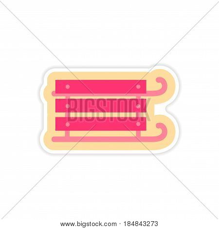 paper sticker on white background children sledges