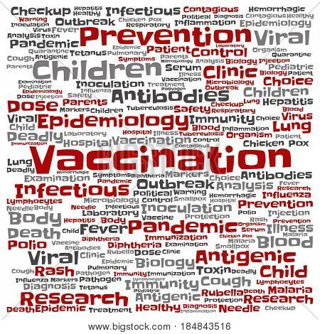 Concept or conceptual children vaccination viral prevention square word cloud isolated background. Collage of infectious antigenic flu antibodies, epidemiology immunization or inoculation text