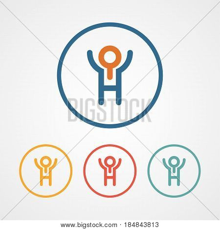 job seeker logo icon with various color