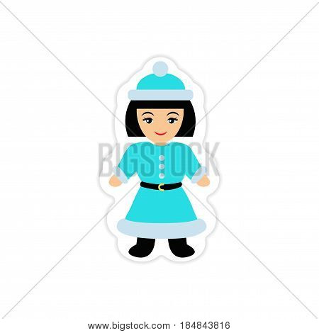 paper sticker on white background Girl dressed as Santa