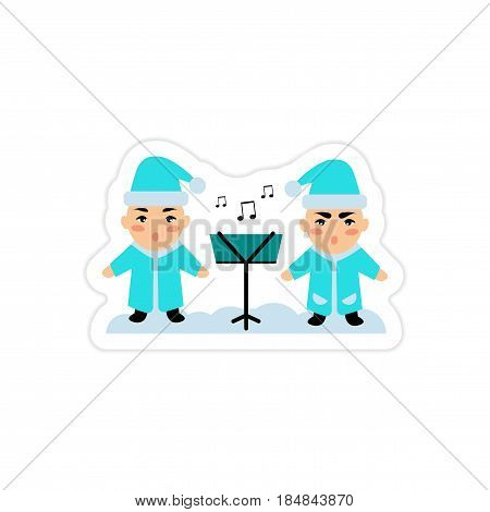paper sticker on white background children sing carols