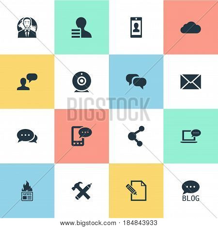 Vector Illustration Set Of Simple Blogging Icons. Elements Share, Gazette, Gossip And Other Synonyms Earnings, International And Discussion.